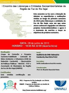 Banner I Encontro das Lideranças e Entidades Socioambientalistas da Região da Foz do Rio Itajaí-1